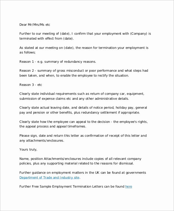 Employee Termination Letter Sample Fresh Sample Of Termination Letter 9 Examples In Word Pdf