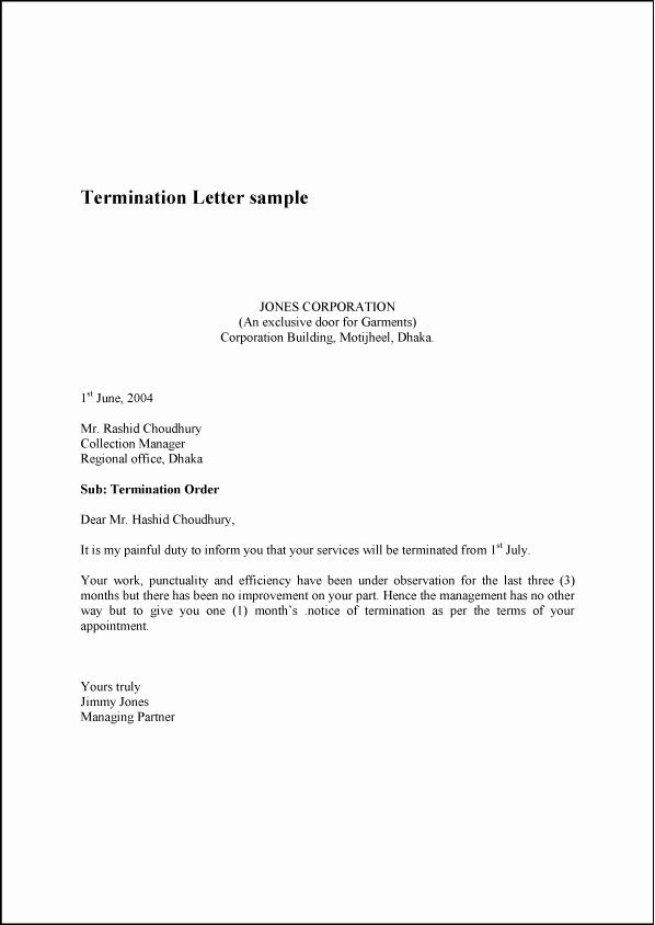Employee Termination Letter Sample Lovely Termination Letter