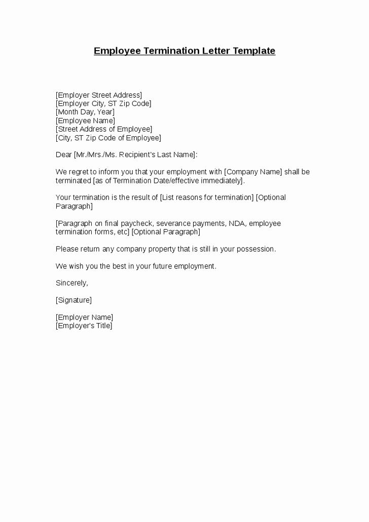Employee Termination Letter Sample Unique Employee Termination Letter Template Hashdoc format Free
