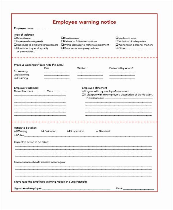Employee Warning Notice Sample Beautiful Free 8 Sample Employee Warning Notice In Pdf