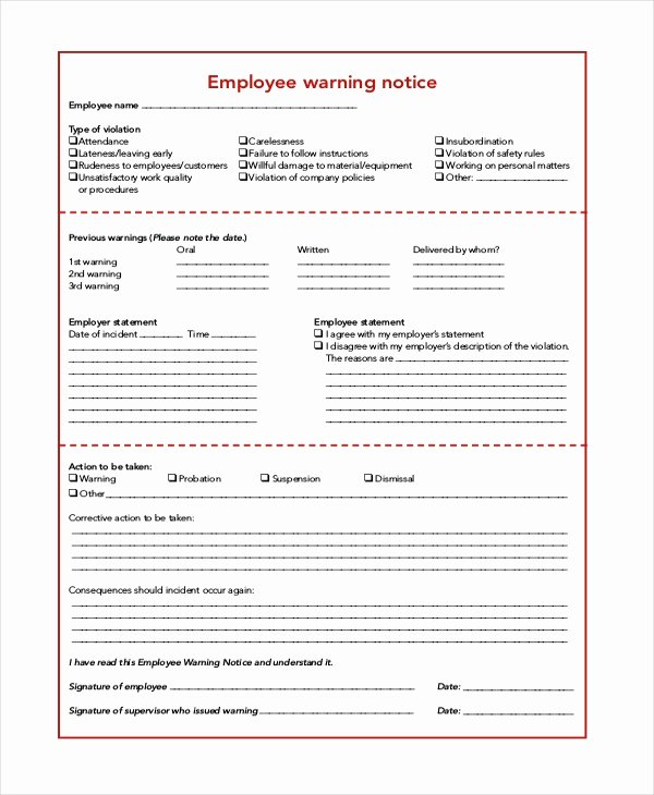 Employee Warning Notice Sample Elegant 6 Sample Employee Warning Notice forms