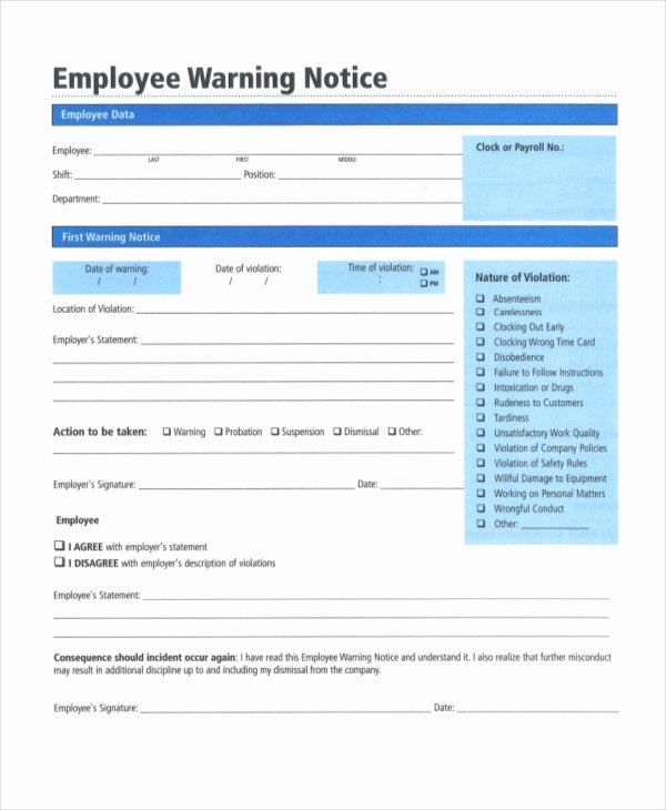 Employee Warning Notice Sample Unique 12 Printable Employee Warning Notice Templates Google