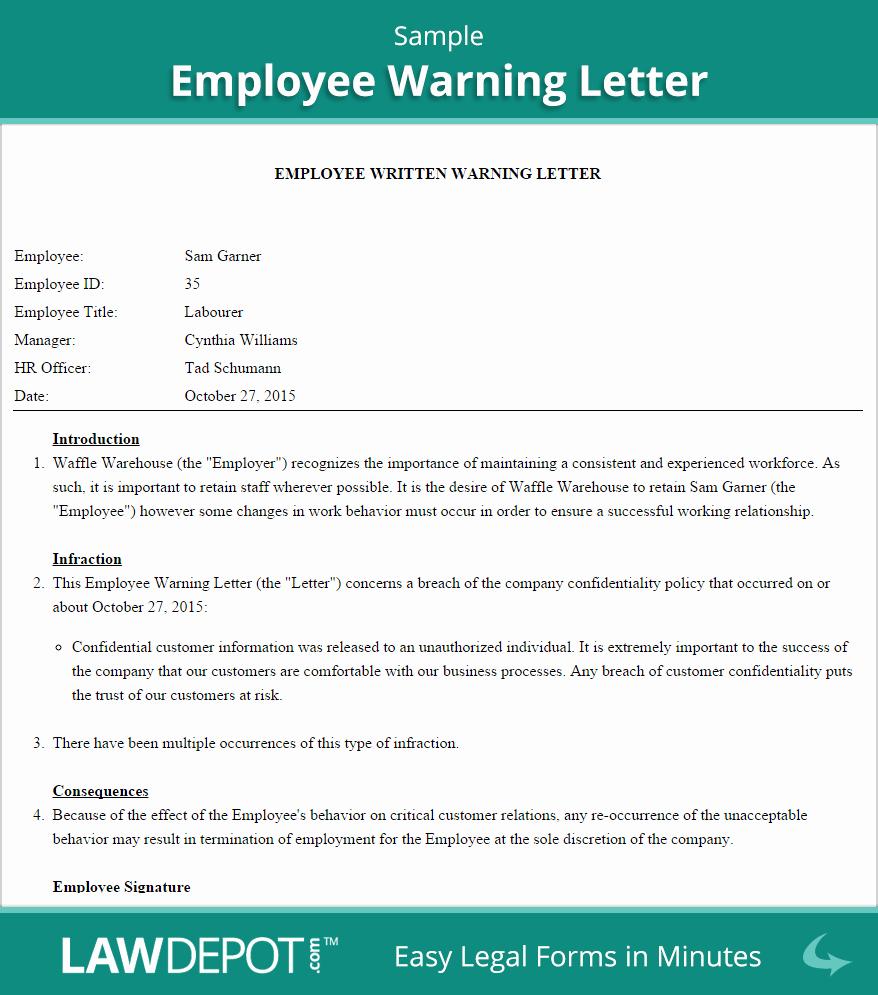Employee Written Warning Sample Letter Awesome Employee Warning Letter Template Us