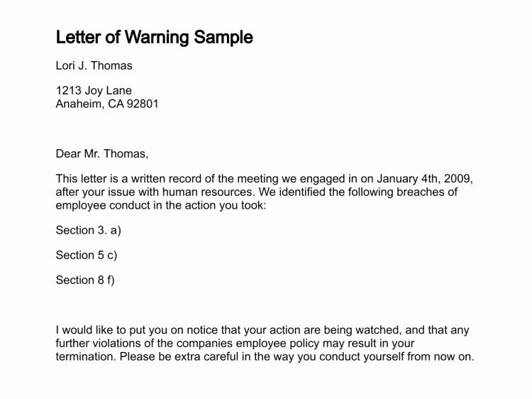 Employee Written Warning Sample Letter Awesome Letter Of Warning