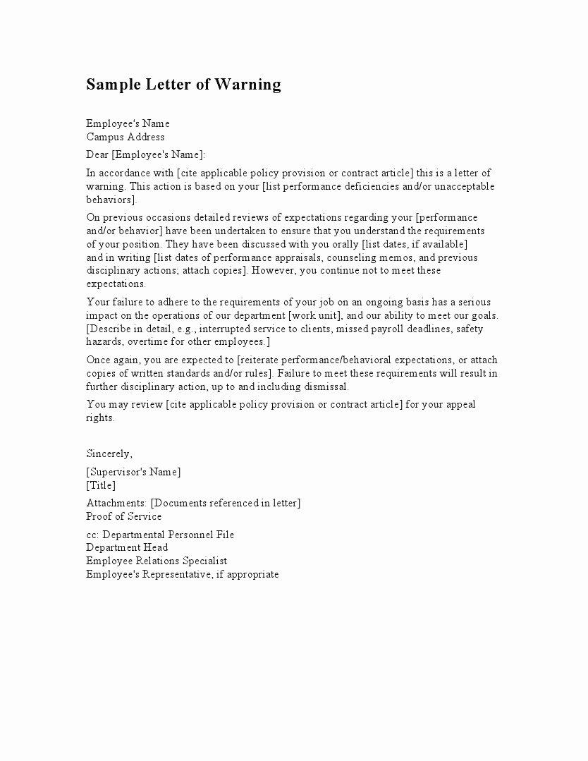 Employee Written Warning Sample Letter Fresh Employee Warning Letter Template