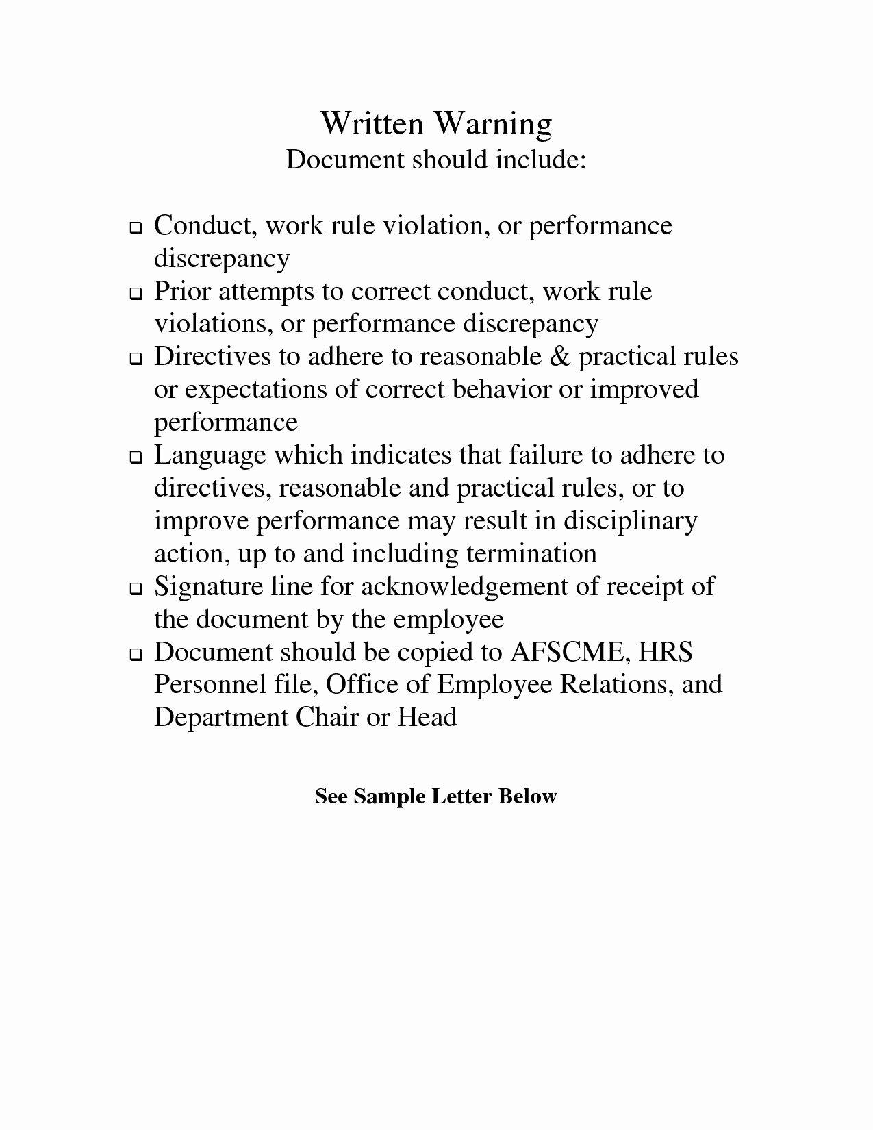 Employee Written Warning Sample Letter Inspirational 10 Sample Write Up for Insubordination