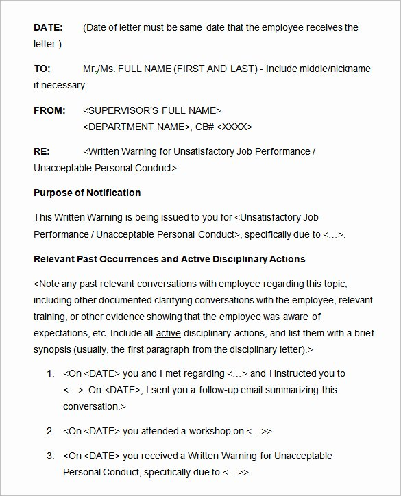 Employee Written Warning Sample Letter Luxury 17 Sample Disciplinary Letter Templates Word Apple