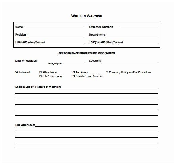 Employee Written Warning Sample Letter New 11 Written Warning Templates Pdf