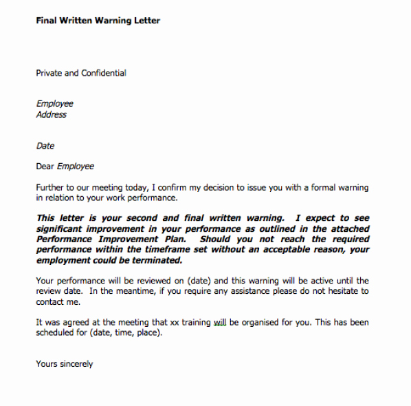 Employee Written Warning Sample Letter New Final Written Warning Letter Eq Consultants