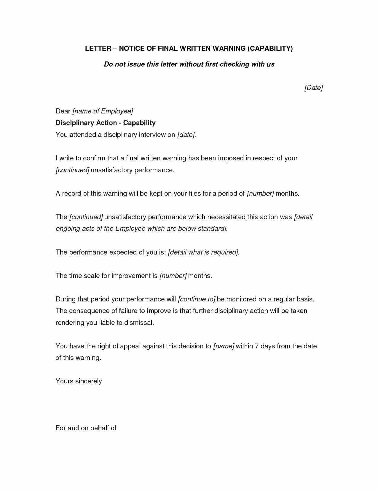Employee Written Warning Sample Letter New Final Written Warning Letter to Employee