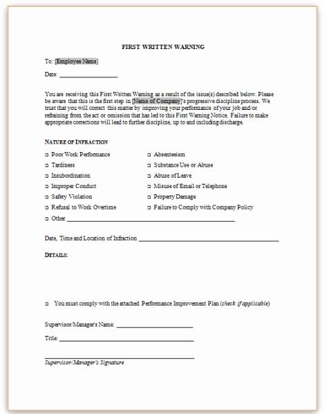 Employee Written Warning Sample Letter New form Specifications