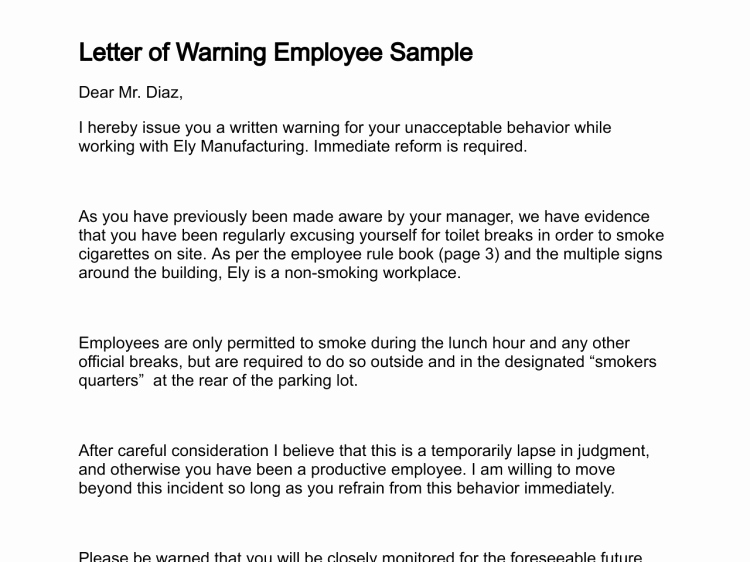 Employee Written Warning Sample Letter Unique Letter Of Warning