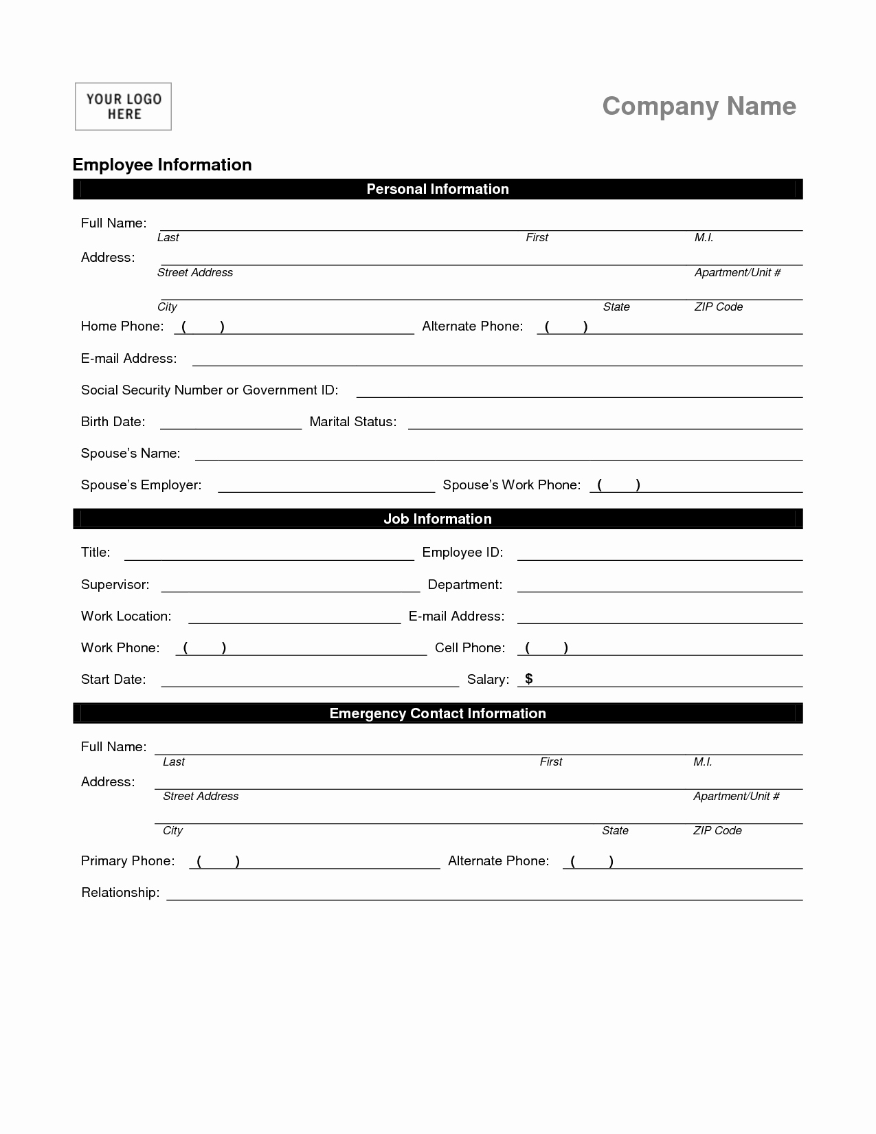 Employees Personal Information form Awesome Employee Personal Information form Template