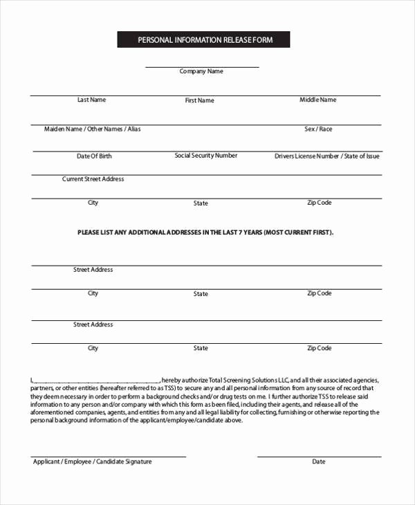 Employees Personal Information form Inspirational Free 7 Sample Employee Personal Information forms