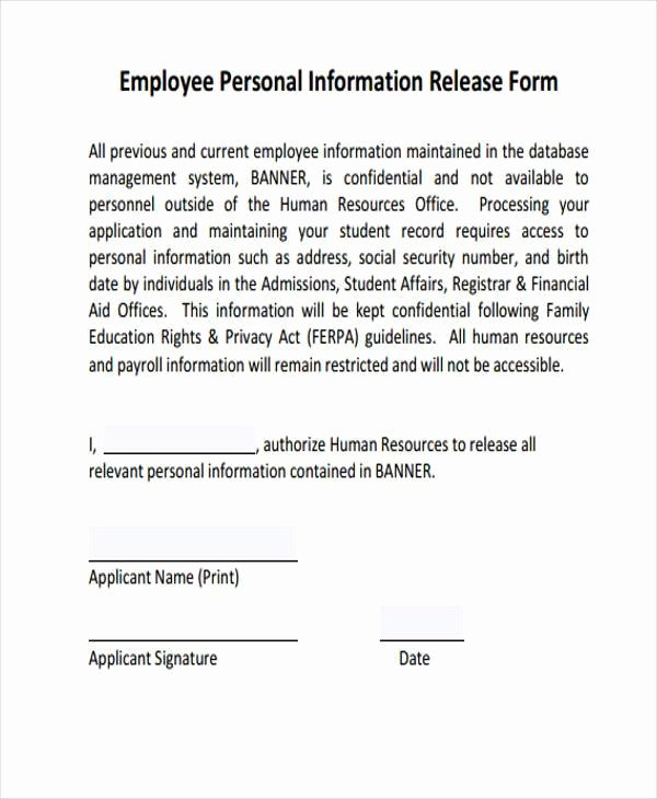 Employees Personal Information form Inspirational Sample Employee Release forms 8 Free Documents In Word Pdf
