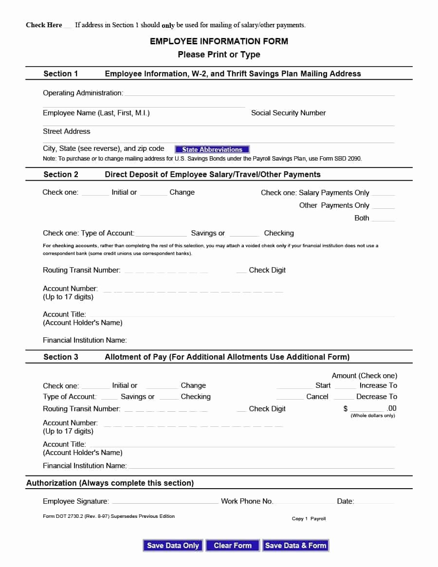 Employees Personal Information form Lovely 47 Printable Employee Information forms Personnel