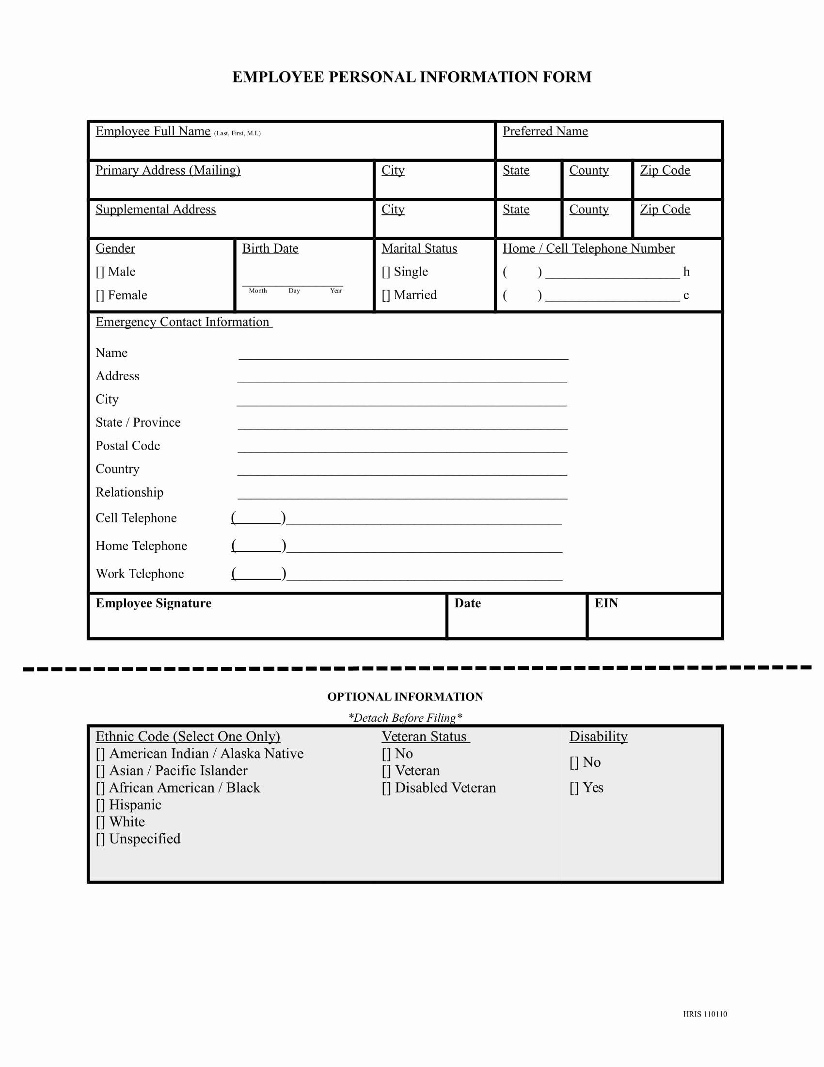 Employees Personal Information form Lovely Free 13 Employee Information forms In Word