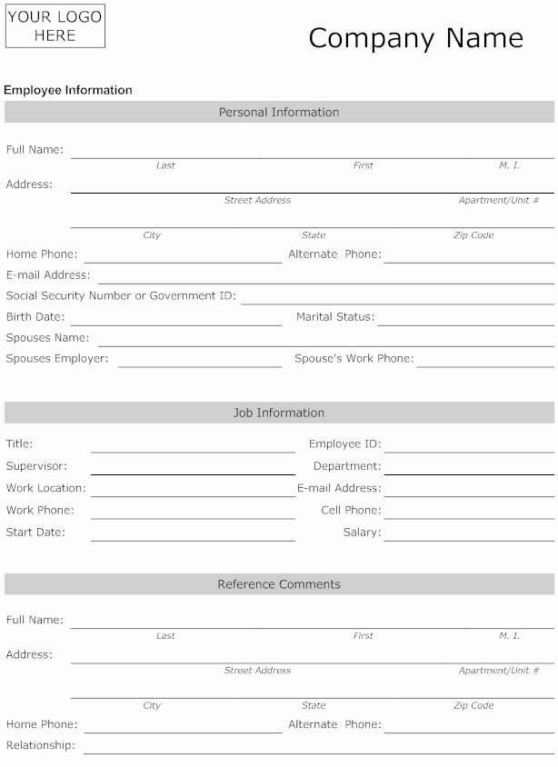 Employees Personal Information form New Best S Of Employee Information Template Employee