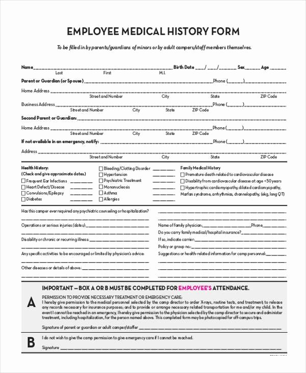 Employment History form Template Beautiful Free 7 Sample Employee Medical History forms In Pdf