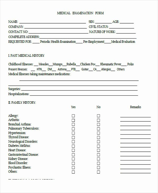 Employment History form Template Best Of Pre Employment Medical form Template – Medical form Templates