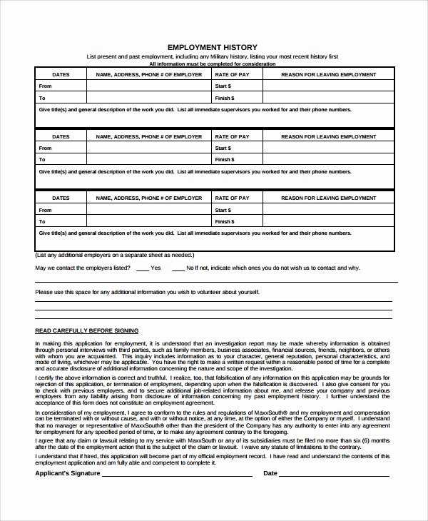 Employment History form Template New 10 Employment History Templates