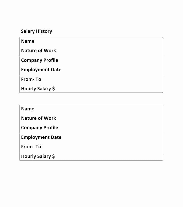 Employment History form Template Unique 19 Great Salary History Templates & Samples Template Lab