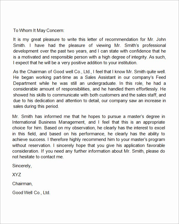 Employment Letter Of Recommendation Fresh Free Sample Letters format Examples and Templates