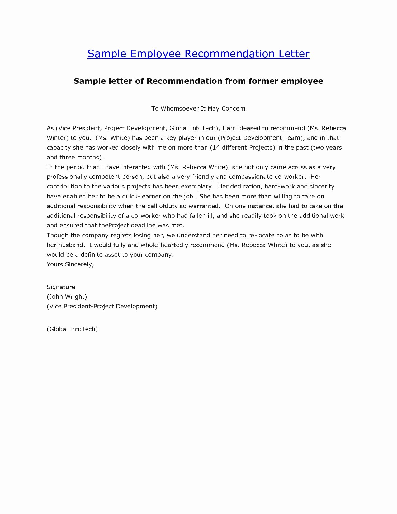 Employment Letter Of Recommendation Inspirational [free] Letter Of Re Mendation Examples Samples