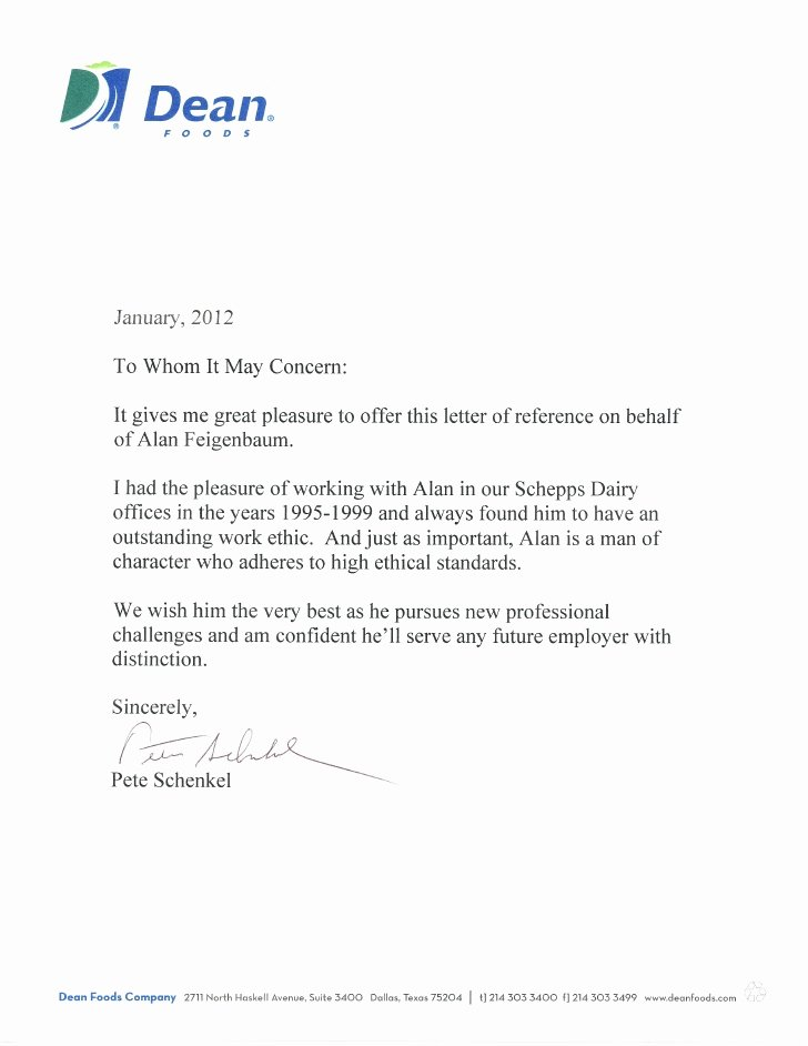 Employment Letter Of Recommendation New Dean Foods Re Mendation Letter