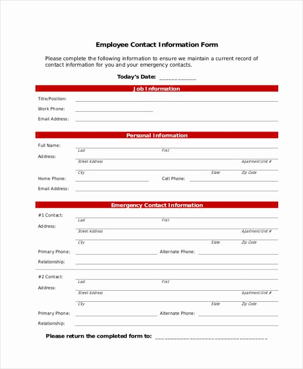 Employment Personal Information forms Best Of 7 Employee Personal Information form Sample Free