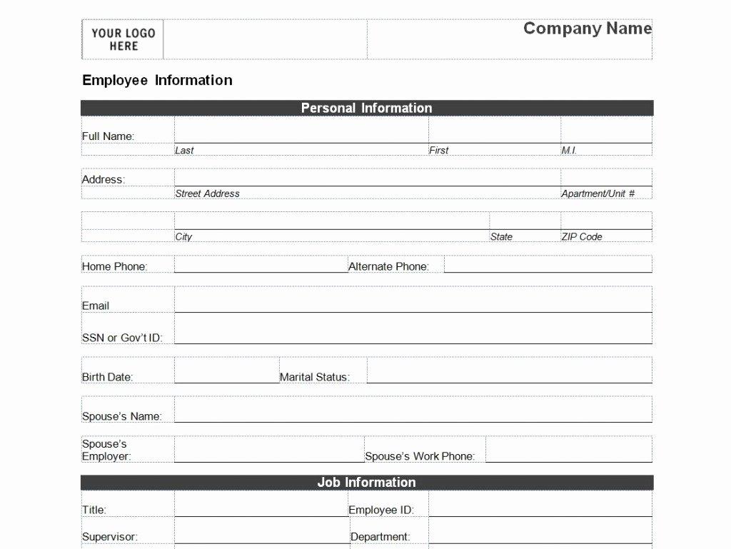 Employment Personal Information forms Elegant Employee Personal Information form Template
