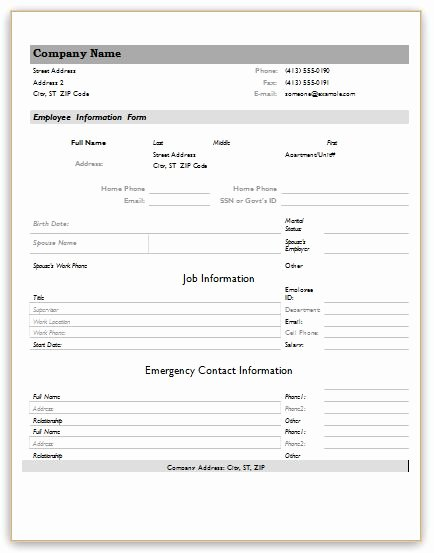 Employment Personal Information forms Lovely Employee Information forms