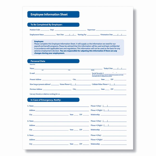 Employment Personal Information forms New Downloadable New Employee Information Sheet From Plyright