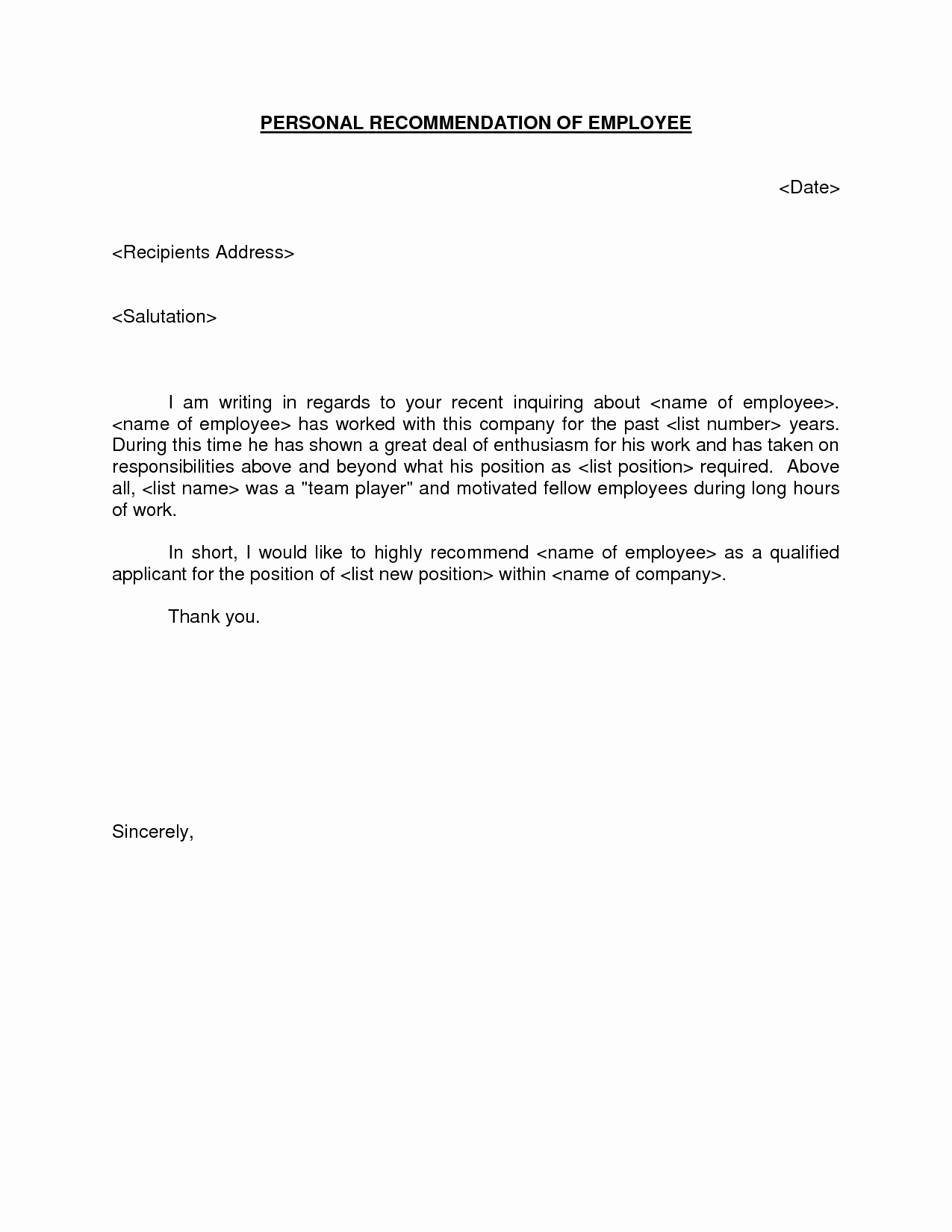 Employment Recommendation Letter Examples Awesome Letter Re Mendation for Employment
