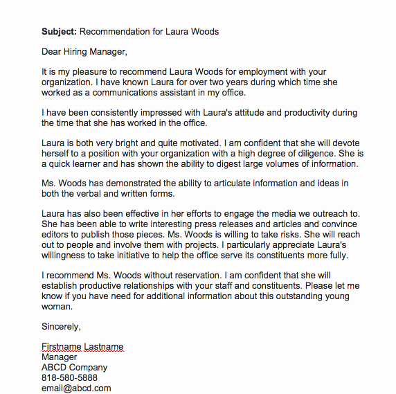 Employment Recommendation Letter Examples Elegant Re Mendation Letter for Employee From Manager