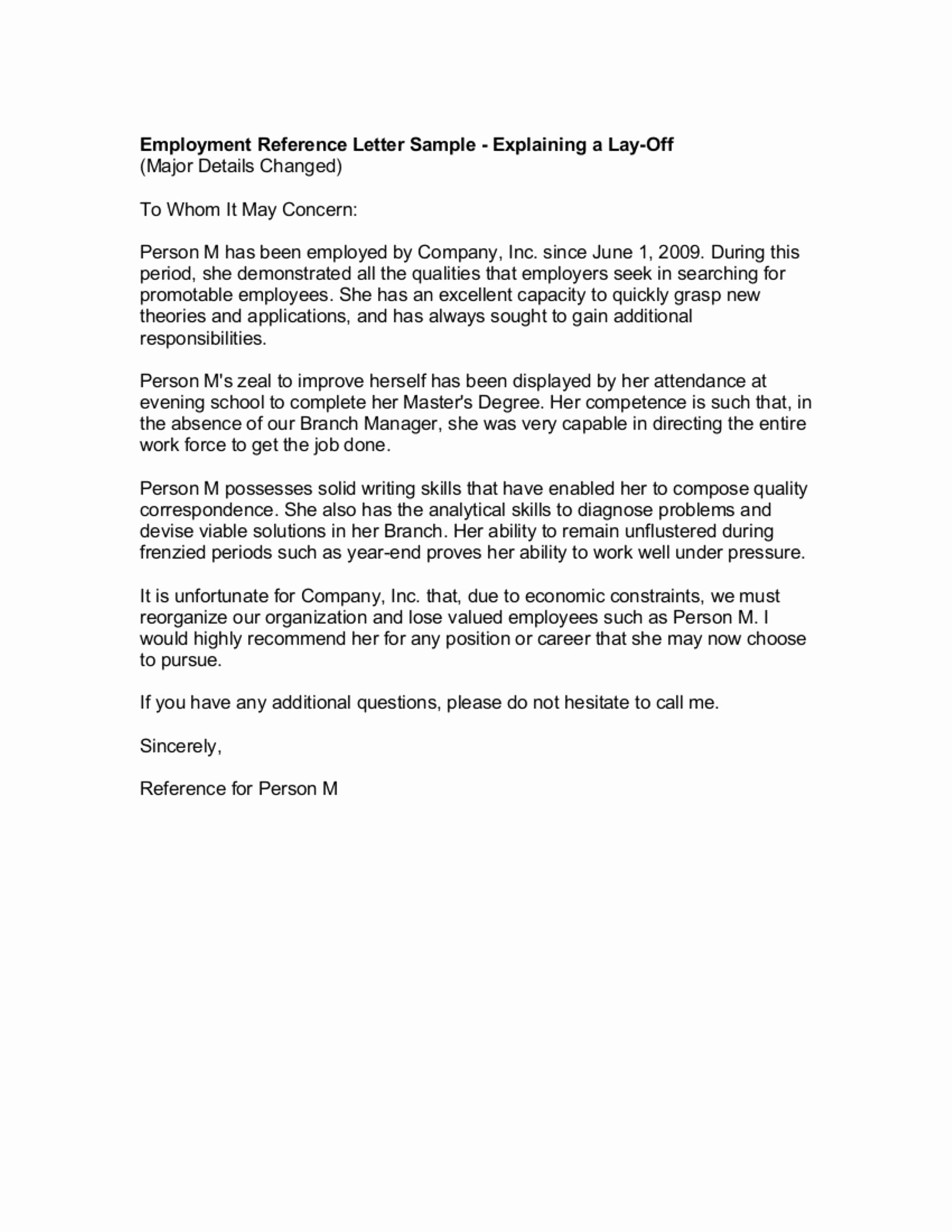 Employment Recommendation Letter Examples New 9 Reference Letter From A Previous Employer Examples