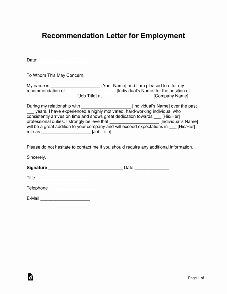 Employment Recommendation Letter Examples New Free Job Re Mendation Letter Template with Samples