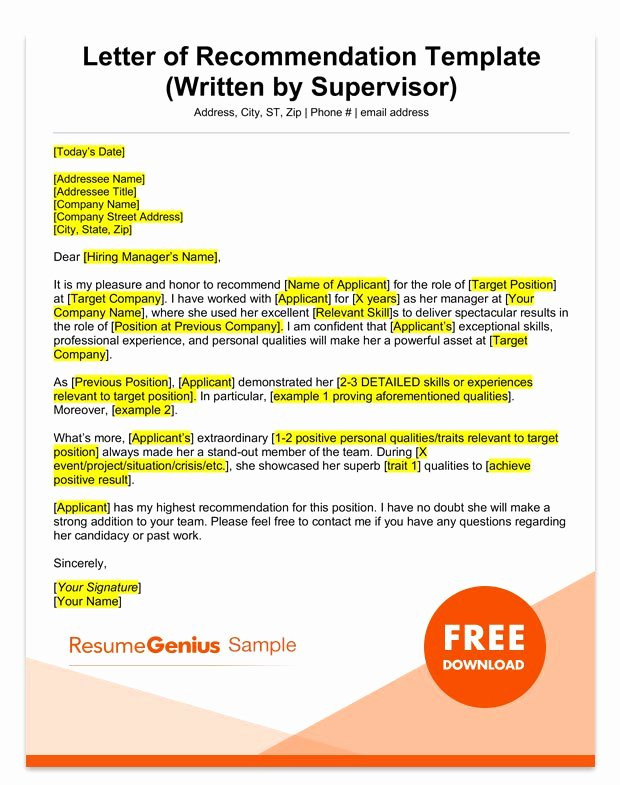 Employment Recommendation Letter Examples New Letter Of Re Mendation Samples & Templates for