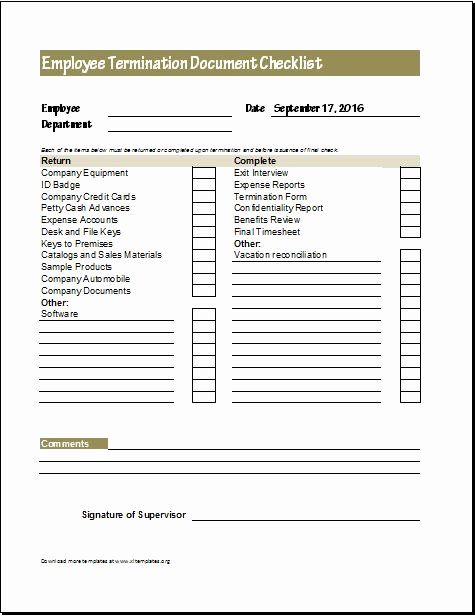 Employment Termination form Template Awesome Document Checklists for New & Terminated Employee