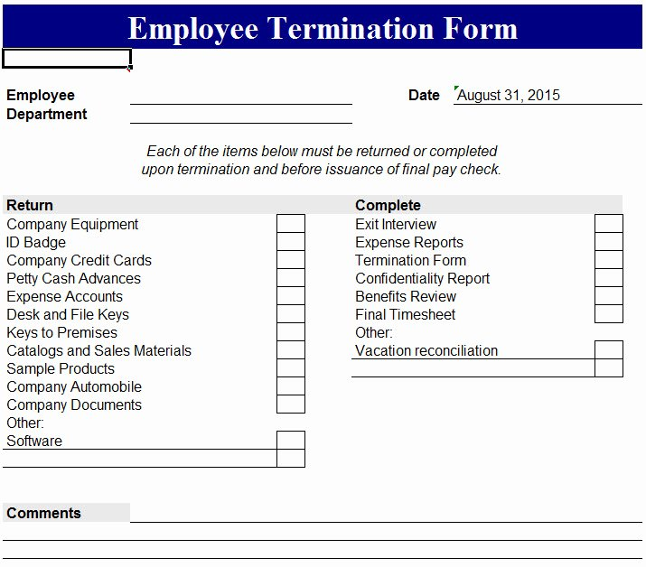 Employment Termination form Template Beautiful Employee Termination form My Excel Templates