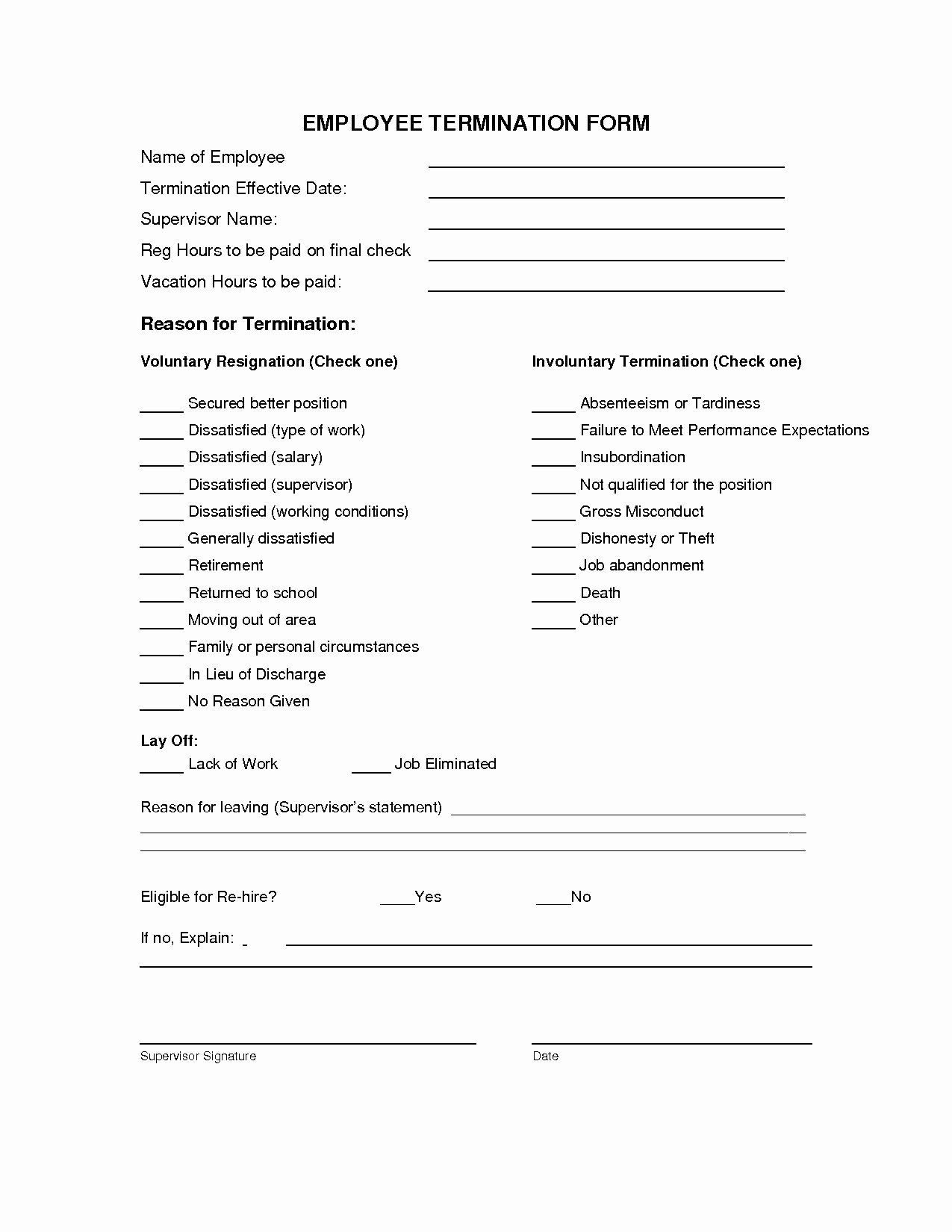 Employment Termination form Template Beautiful Employee Termination form Template Free Pics – Free