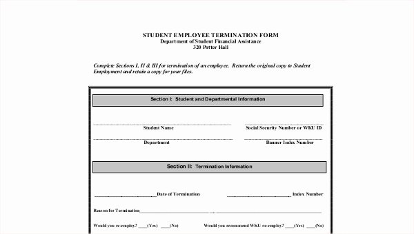 Employment Termination form Template Elegant 8 Sample Employee Termination forms