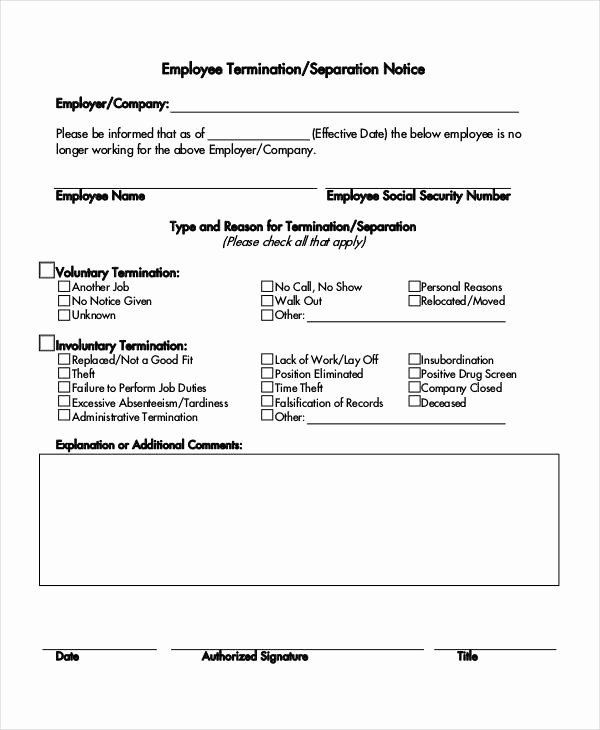 Employment Termination form Template Fresh 14 Separation Notice Templates Google Docs Ms Word