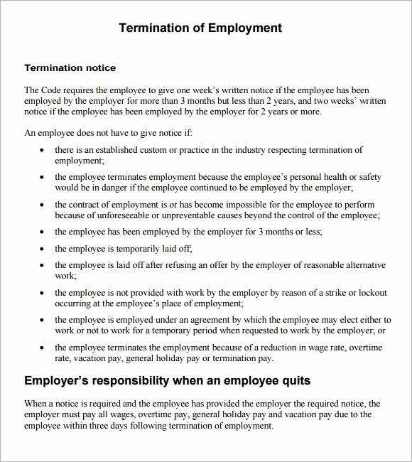 Employment Termination form Template Lovely Sample Termination Notice 6 Documents In Pdf Word