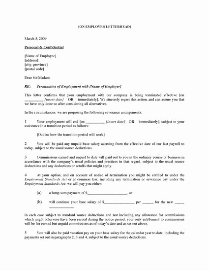 Employment Termination form Template Unique Canada Employee Termination Letter for Cause