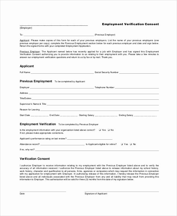 Employment Verification form Samples Luxury Sample Employment Verification form 6 Documents In Pdf