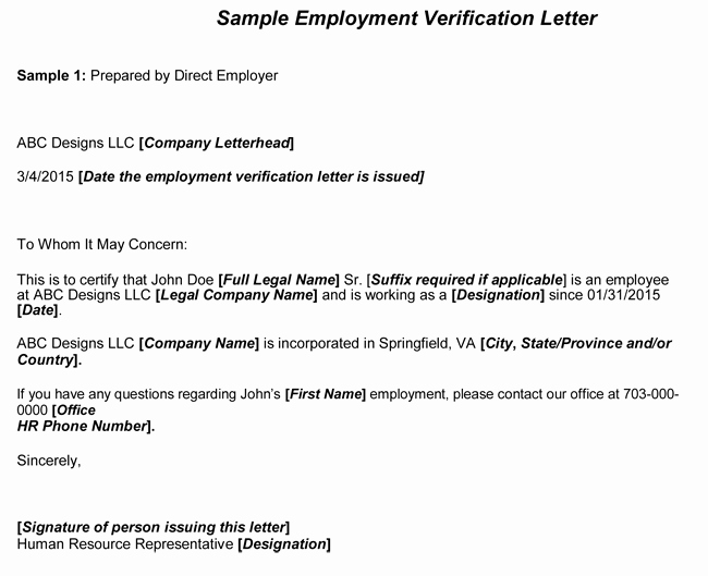 Employment Verification form Samples New Employment Verification Letter 8 Samples to Choose From