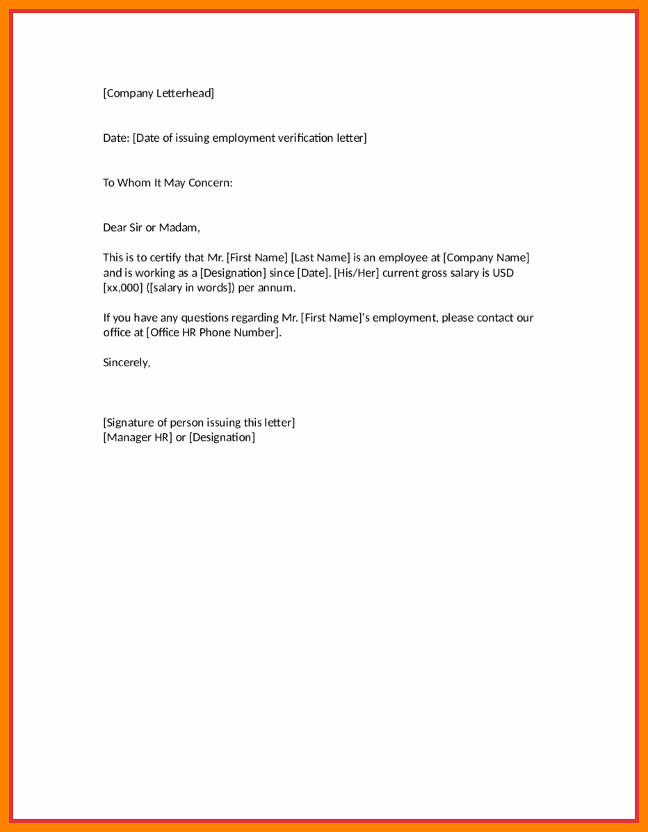 Employment Verification Letter form Awesome Employment Verification Letter