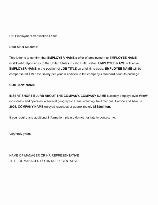 Employment Verification Letter form Beautiful Printable Sample Letter Employment Verification form