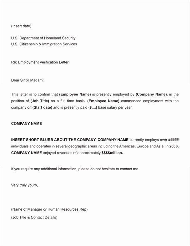 Employment Verification Letter form Beautiful Printable Sample Letter Employment Verification form